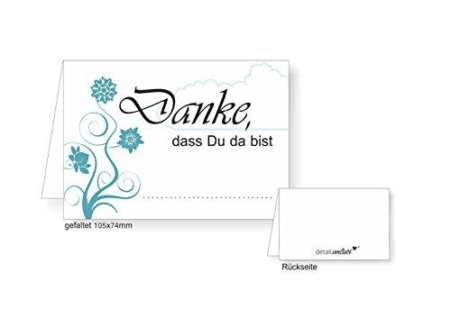 (#detailverliebt 40 Tischkarten I DV_073 I Din A7 I Platz-Karten Namens-Kärtchen Sitzplatz-Karten Türkis Aufsteller Quer Zum Beschriften für Geburtstag Hochzeit Taufe)