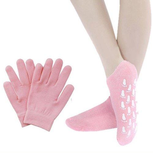 Tinksky Magic Unisex Beauty Spa Soften Whitening Moisturizing Treatment Skincare Gel Socks Gloves Set - Free Size (Pink)