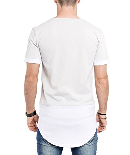 Phoenix Oversize Panel T-Shirt Weiß Schwarz Grau Herren Longshirt Weiß-Grau