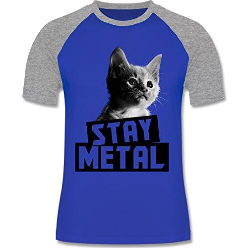 Metal - Stay Metal Katze - zweifarbiges Baseballshirt für Männer Royalblau/Grau meliert