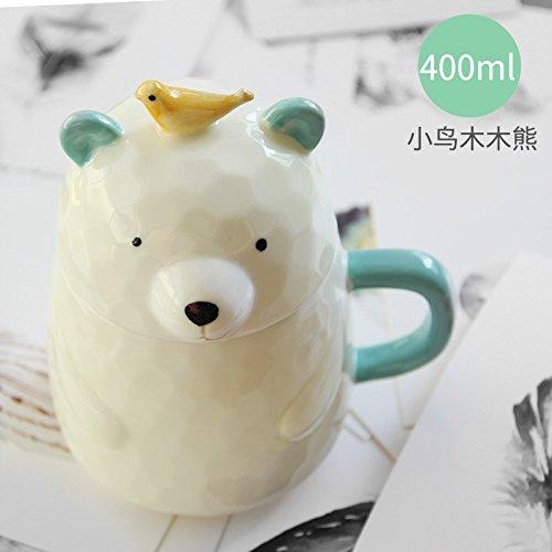 UPSTYLE 3d Cute Cartoon Animal porcelana Mini oso café leche taza de cerámica taza de té vaso con tapa y asa para té, agua, leche y café, 13.8oz (400ml), A050, Bird
