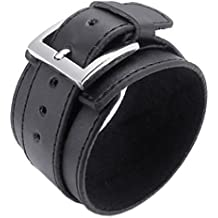 Pulsera ancha de cuero - TOOGOO(R) pulsera de joyeria de hombres y mujeres, brazalete ancho de cuero, hebilla, negro