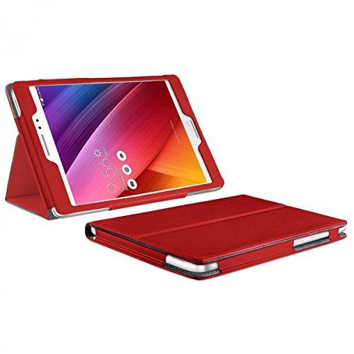 eFabrik Tasche für ASUS ZenPad S 8.0 Cover Rot (Z580C) Tablet Cover Zubehör Bookstyle Case Design Aufsteller Kunstleder