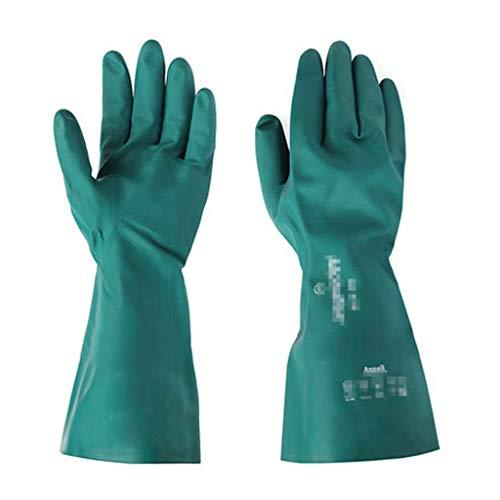 SMBYLL Gants de protection contre les produits chimiques, gants en caoutchouc nitrile, kérosène diesel antidérapant, résistance à l'huile industrielle, résistance à la corrosion, aux acides et aux alc