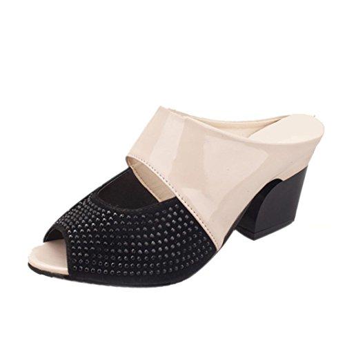 FEITONG Frauen Rhinestone Mid Heel Block Dekoration Sandalen Flip-Flops  Beige