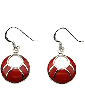 DTPsilver -Damen - Ohrringe 925 Sterling Silber mit Rote Koralle