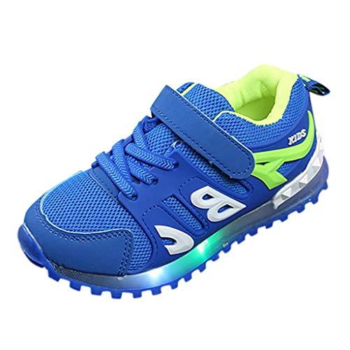 HDUFGJ Kinder Freizeitschuhe Mädchen Jungen Led Leuchtende Schuhe Outdoor Slip-On Sportschuhe Atmungsaktive Kinderschuhe Mesh Sneakers Socken Schuhe29 EU(Blau)