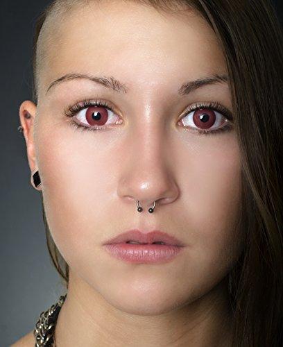 Eye Effect farbige Kontaktlinsen Rote Motivlinsen rot Blutaugen Vampier Jahreslinsen inklusive Behälter