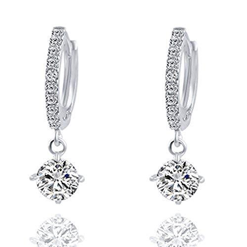 liusdh Damen Ohrringe 1 Paar Mode Kristall Strass runde Ohrstecker Ohrringe für Frauen, Modeschmuck, Geschenke für Frauen(Silver,Einheitsgröße)