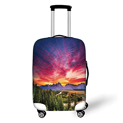 Travel Luggage Cover Suitcase Protector,Landscape,Colorful Skyline with Clouds in The Forest Lake River Mountain Landscape Sunburst,Multicolor,for Travel,M -