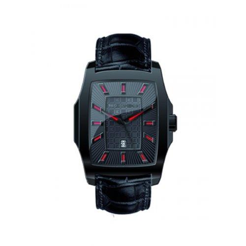 Ted Lapidus 5122202 - Reloj analógico de cuarzo para hombre con correa de piel, color negro