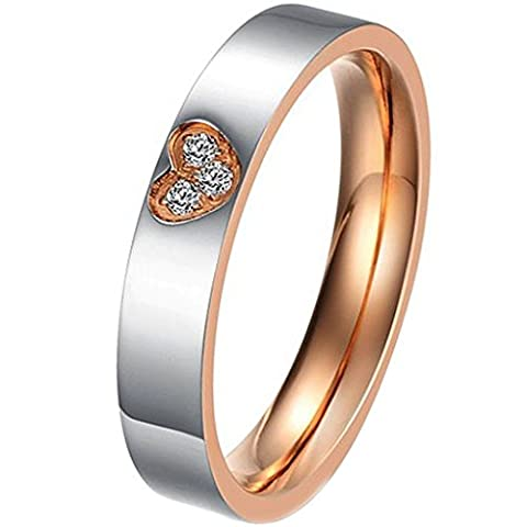 Aooaz Schmuck Unisex Ring,Intarsien CZ Kreuz Herz Edelstahl Ehering Verlobungsringe Schwarz Gold