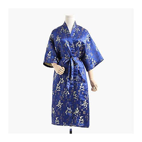 GAOHUI Damen Brocade Sommer Herbst Bademantel Luxus Noble Chinesischen Stil Bademantel, Blau, Vergrößern Code -