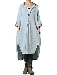 Vogstyle Damen Plus Größe Baumwollleinen Einschultriges Shirt Kleider