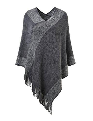 Poncho (Ferand stylischer gestrickter Poncho Pullover mit Streifen, V-Ausschnittund Fransen für Frauen, One Size, Grau)