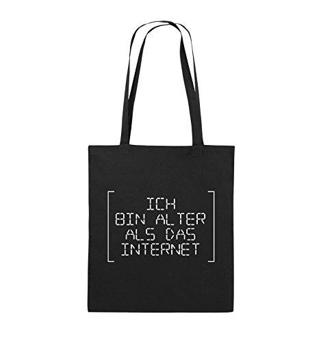 Comedy Bags - ICH BIN ÄLTER ALS DAS INTERNET - RETRO - Jutebeutel - lange Henkel - 38x42cm - Farbe: Schwarz / Silber Schwarz / Weiss