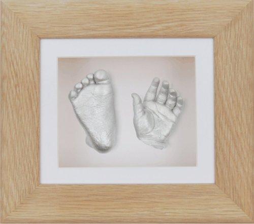 BabyRice Guss-Set für Baby mit 15,2x 12,7cm Eiche massiv 3D-Box Display Rahmen Passepartout weiß/Hintergrund weiß/Farbe Silber -