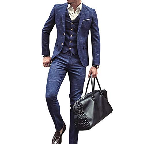 Herren Anzug Slim Fit 3 Teilig mit Weste Sakko Anzughose Business Smoking von Harrms (Blau, S) -