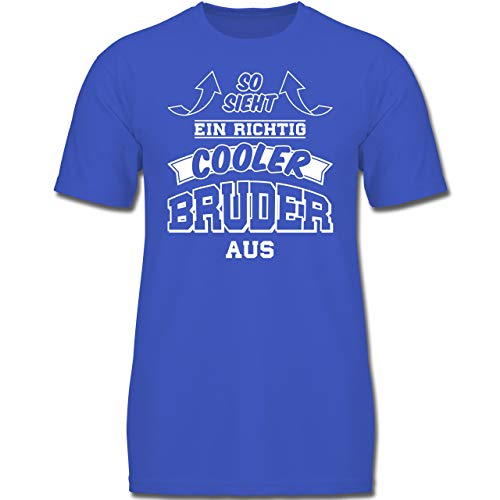 Geschwisterliebe Kind - So Sieht EIN richtig Cooler Bruder aus - 128 (7-8 Jahre) - Royalblau - F130K - Jungen Kinder T-Shirt