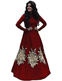 S R Fashion Women's Maroon Tapeta Silk Full Stitched Long Gown With Embroidery Work For Girls (SRF_66000_Maroon_Taffeta_Full_Stitched_JFW...
