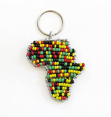 African beaded map of Africa keychain, keyring, purse jewelry, handbag charm