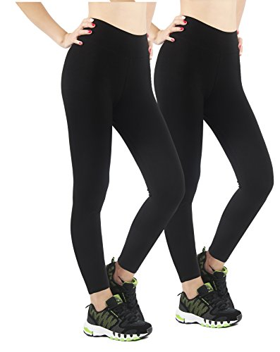 iLoveSIA 2pcs Hosen Damen Sport Winter schwarz warm gefüttert Treggings Leggings nnenfleece Fitness Yoga XL