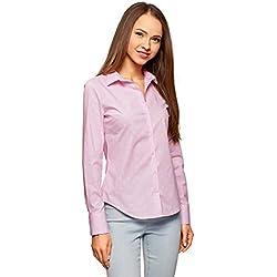 oodji Ultra Mujer Camisa Básica de Algodón, Rosa, ES 40/M