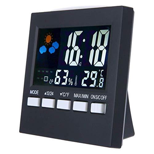 HUBI Estación Digital de visualización del Tiempo, previsión meteorológica termómetro,...