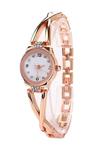 Chapado en oro rosa mujer Rhinestone elegante cuarzo reloj señoras vestido reloj de pulsera