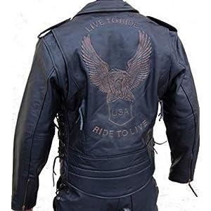 Bikers Gear UK Retro Schwarz Cafe Racer die Bonnie 100/% Bovine Leder Motorrad-Jacke CE Armoured/ /Elfenbein Streifen