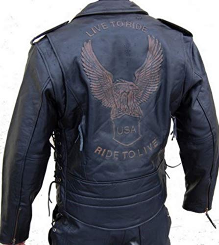 Lederjacke Leder Jacke für Biker Chopper Mottoradjacke Motorrad Rocker Punk (Damen Leder-motorrad-jacke)