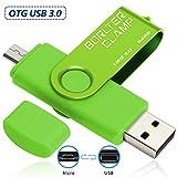 BorlterClamp 64GB Chiavetta USB 3.0, 2 in 1 Pen Drive (Micro USB e USB 3.0) OTG Memoria Flash, USB Flash Drive Girevole per Android Smartphone/Tablet/Computer (Verde)