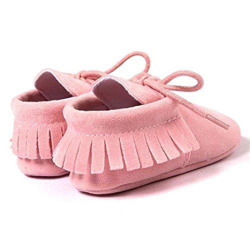 Fulltime® Lit bébé Glands Bandage souple Sole Sneakers Chaussures enfant Rose