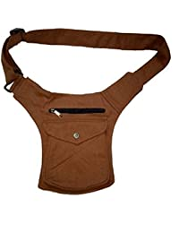 Kanha Men's Cotton Waist Pack Belt Bags (Brown)