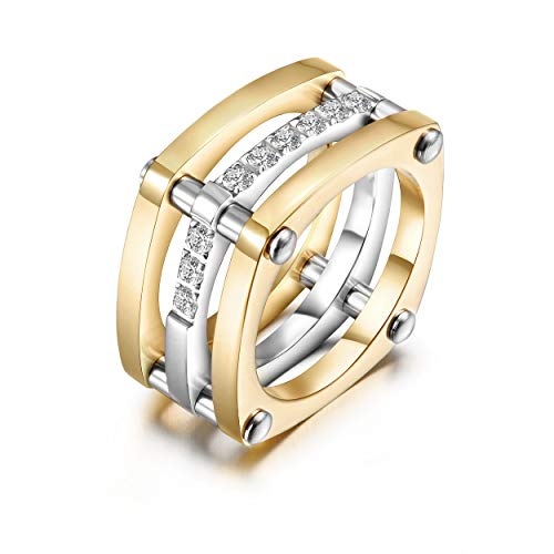 WISTIC Gold Statement Ringe für Frauen Mädchen Fashion Chunky Diamant CZ Cocktail Ringe Breite Bänder Parallel Bar Ring Mantelringe - Ring Frauen Diamanten Für