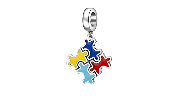 Queenberry Sterling Silver Autism Puzzle Enamel Awareness European Style Dangle Bead Charm