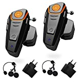 1000m Bluetooth Headset Interphone Moto Universal Waterproof Headphone pour 2 ou 3 pilotes et audio pour Walkie Talkie GPS MP3 Player,mains libres et radio FM (2 pièces)