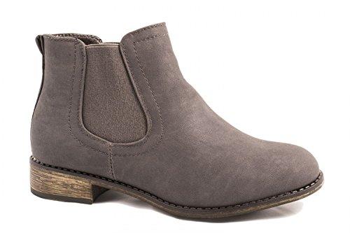 Elara Damen Chelsea Boots | Bequeme Flache Stiefel | Lederoptik Stiefeletten BL2815-Grau-37