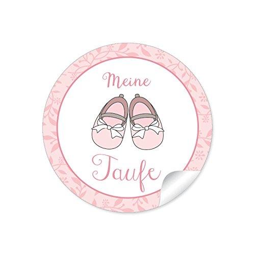 """24 STICKER:""""Meine Taufe"""" 24 Edle Etiketten in rosa mit Babyschühchen für ein Mädchen in rosa (A4 Bogen) • Papieraufkleber (Aufkleber im Format 4 cm, rund, matt)"""
