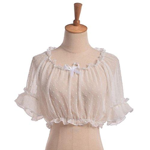 (Vintage Mädchen Puff Ärmel Crop Top Bluse Boden Chiffon Spitze Sommer Lolita Shirt)