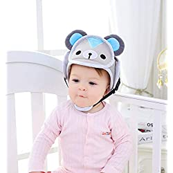Zerodis Casco de Bebé de Seguridad de Dibujos Animados Sombrero de Niño Pequeño Gorra de Protección de Cabeza de Arrastre para Caminar Infantil(Bear)