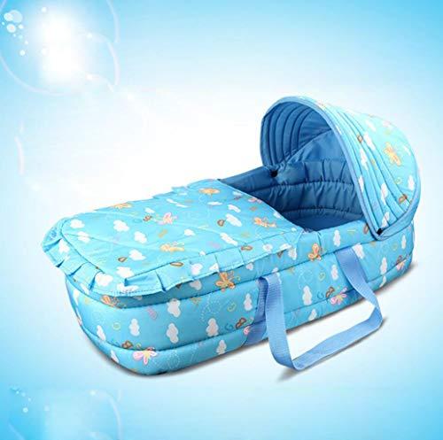 Tragbare Babywiege Schlafkorb Neugeborenes Baby Schlafkorb 0-7 Monate Babys (Farbe : Blau)