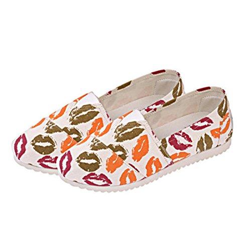 jeansian Moda Donna Floreale Scarpe Espadrillas Basse Flats Shoes WSA049 Red 39