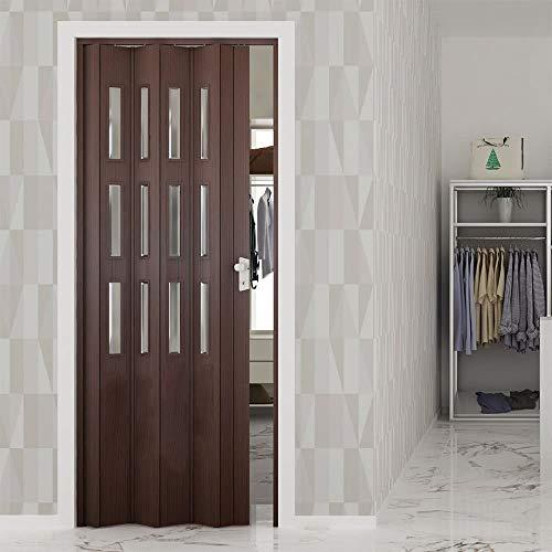 Porta a soffietto da interno 88,5x214 cm in pvc con vetro saba jasmine noce mansonia