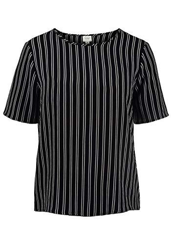 ONLY Crystal Blusenshirt Bluse Kurzarm Mit Rundhalsausschnitt Und Verschiedenen Prints Loose Fit, Größe:40, Farbe:Black/Stripes Clould Dancer -
