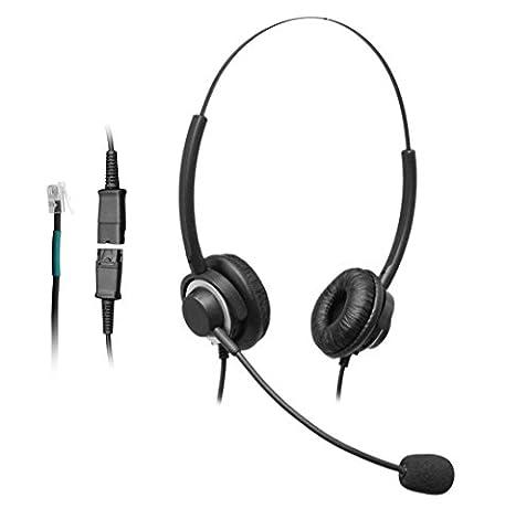 wantech Call Center Casque téléphone binaural filaire avec Déconnexion rapide et bruit Microphone pour allworx altigen NEC Nortel Meridian Norstar Shoretel Téléphone avec prise RJ9Jack (h320q02a)