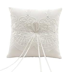 Cereoth Romantische Hochzeit Ringkissen Handgemachte Ehering Kissen Kissen Träger Sticken Spitze Blume Schmetterling mit Bogen 21 cm * 21 cm — Elfenbein