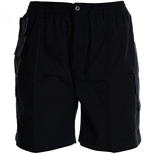 Herren Cargo Bermuda Hose kurz Shorts Sommer Chino Pasteur Capri Casual 20419, Größe:M;Farbe:Schwarz (Eingestellt Cargo-short)