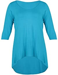 Womens Plain 3/4 Three Quarter Sleeve Ladies Round Scoop Neckline Stretch Fishtail Dipped Hemline T-Shirt Top Plus Size