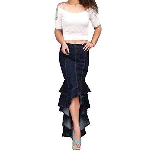 Zicac Womens Denim Skirts Ruffle Fish Tail Maxi Skirt A Line Skirt Pleated Knee Length Skirt Midi Dress (Blue) UK12 steampunk buy now online